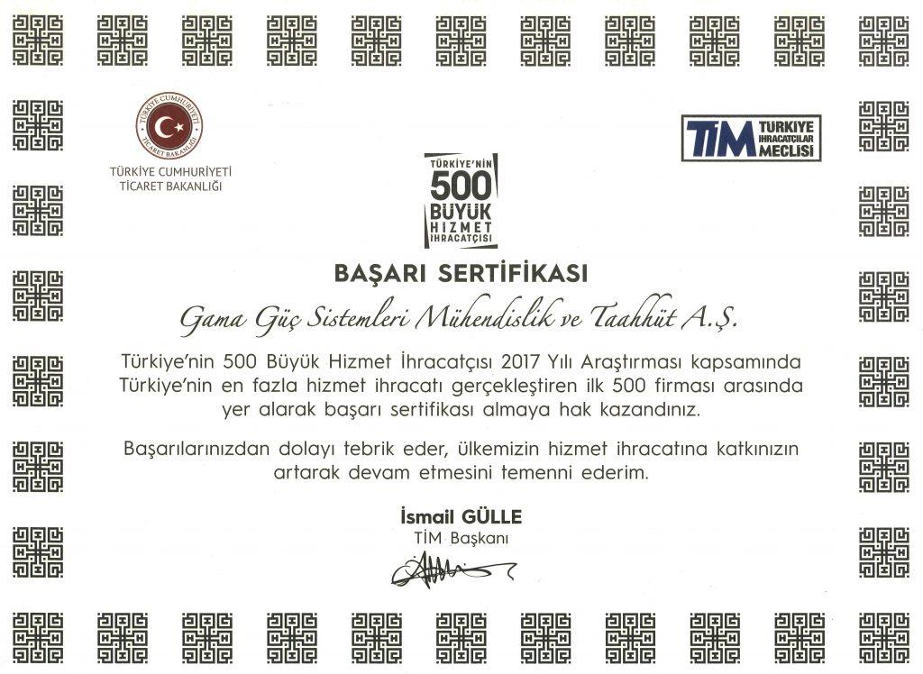 GAMA Güç TİM 500'DE